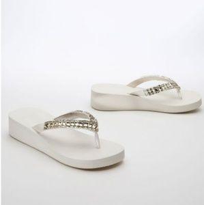 Crystal wedge flip flops bridal wedding L  9 - 10